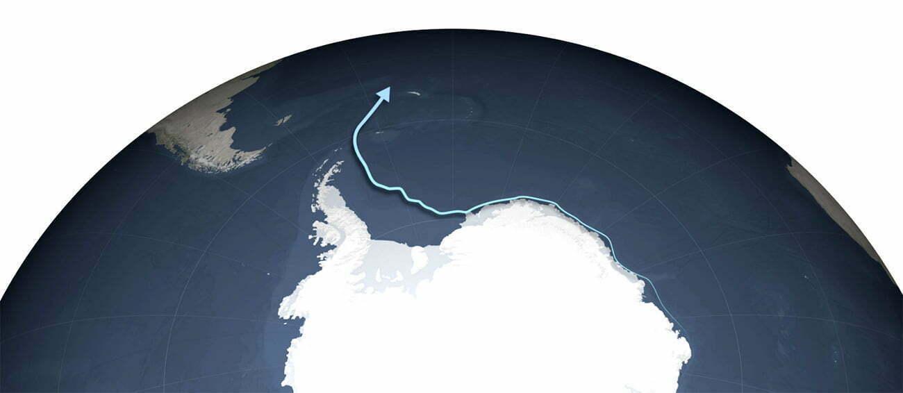 infográfico mostra caminho que percorrerá o maior iceberg
