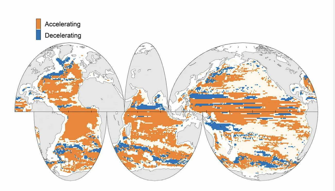 infogreafico mostra correntes oceânicas acelerando