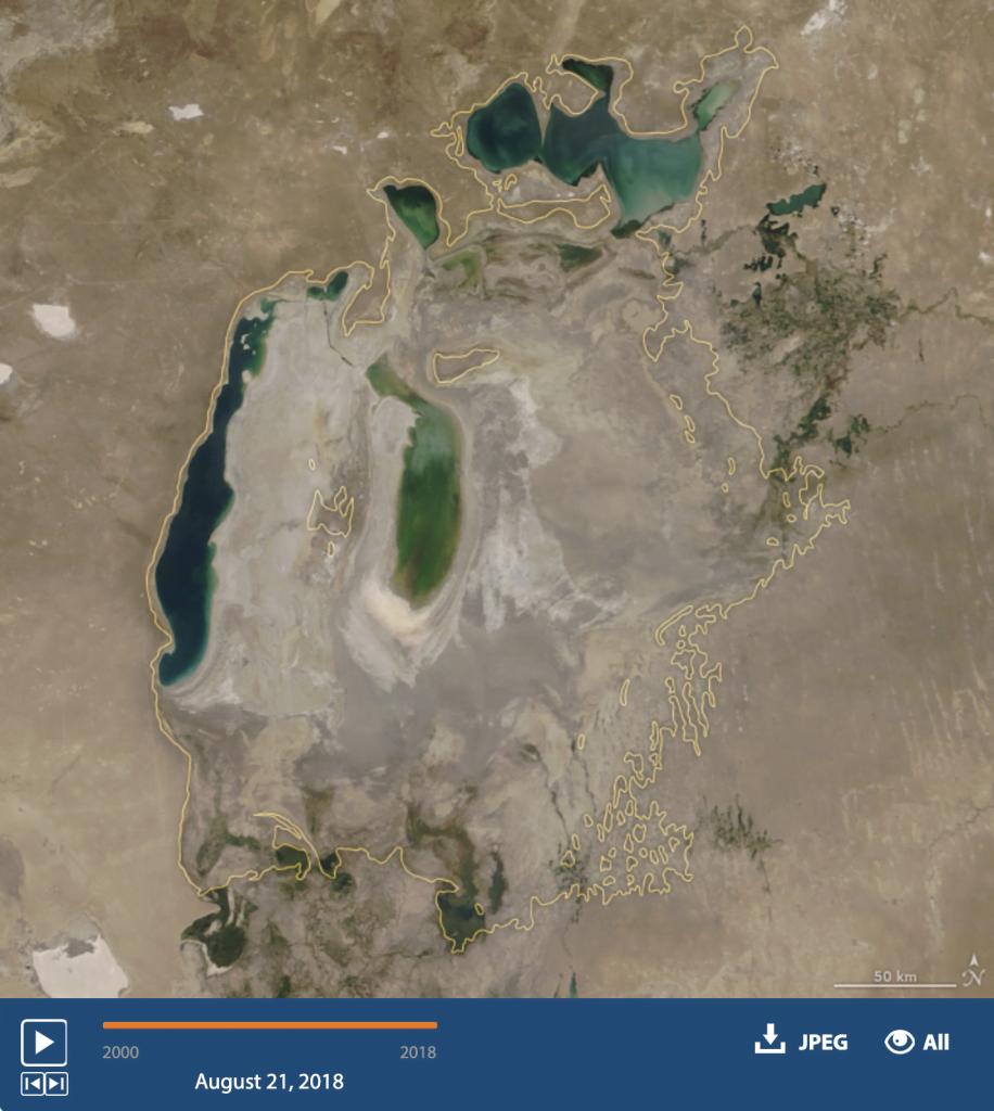 mar de Aral em 2018