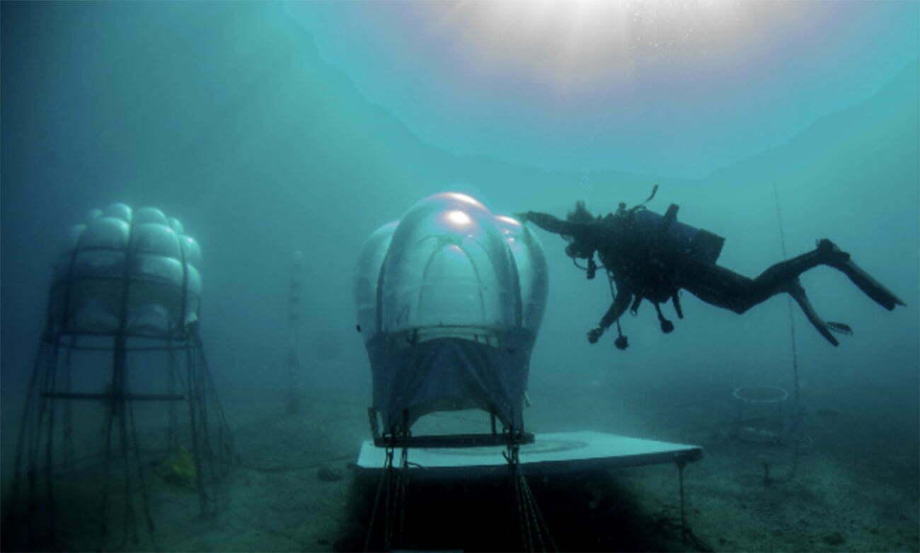 imagem de estufas em fazenda subaquática