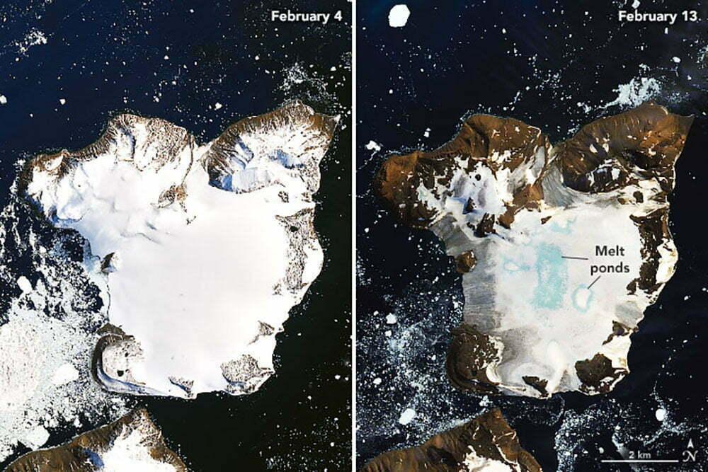 imagens da Nasa mostram Antártica derretendo