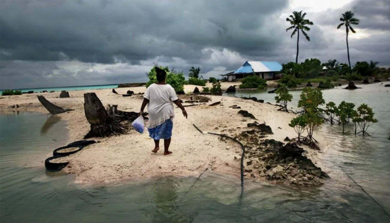 imagem de Kiribati ameaçada pelo aquecimento global