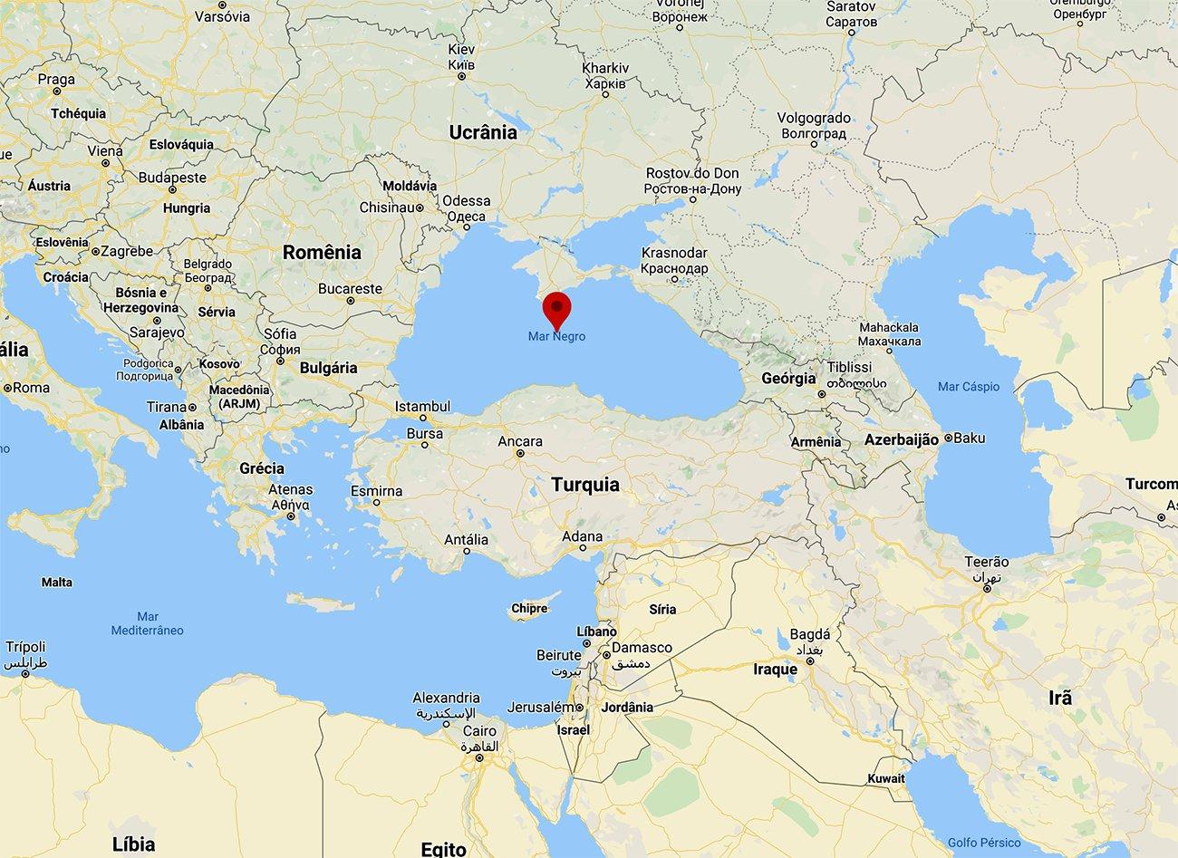 Mapa da localização do Mar Negro