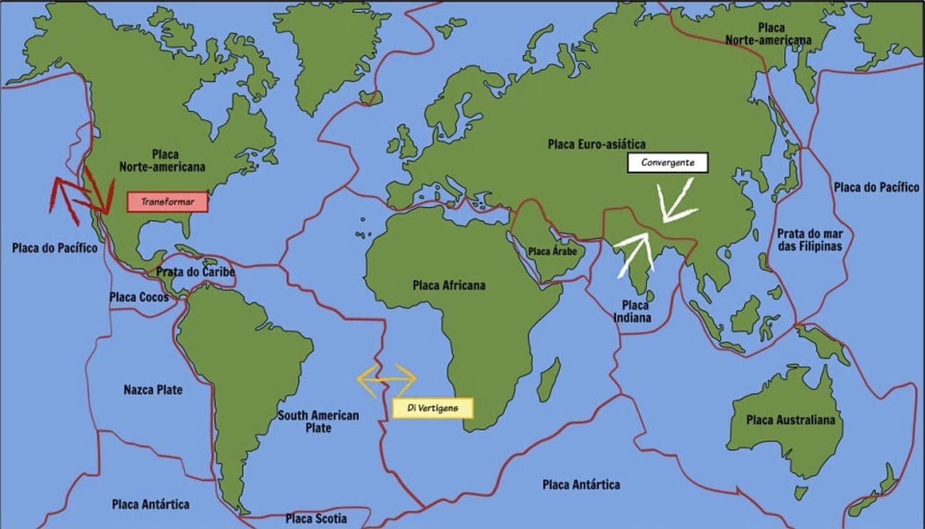 infográfico mostra zonas de convergência de placas tectónicas
