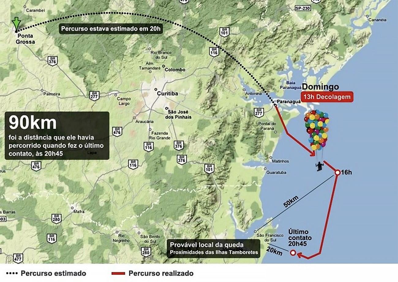mapa da rota do padre voador no Paraná