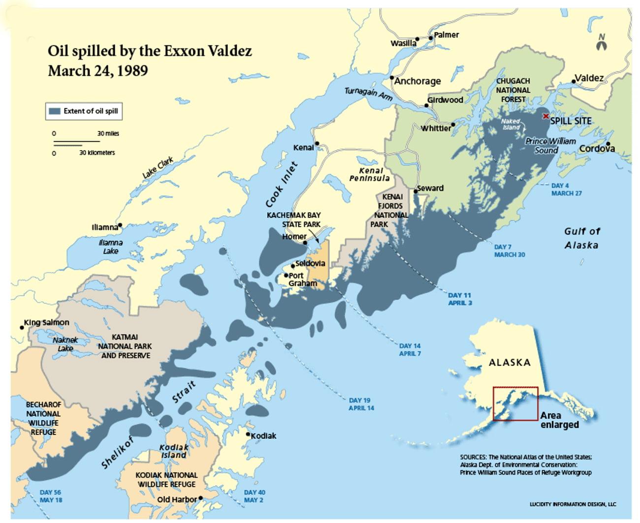 mapa do Alasca com acidente do Exxon Valdez