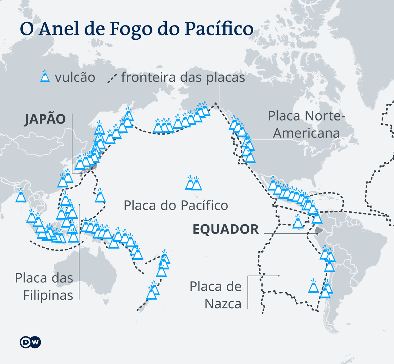 mapa mostra anel de fogo do Pacífico