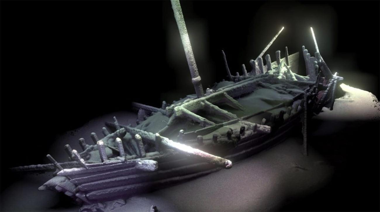 imagem de naufrágio antigo no Mar Negro.