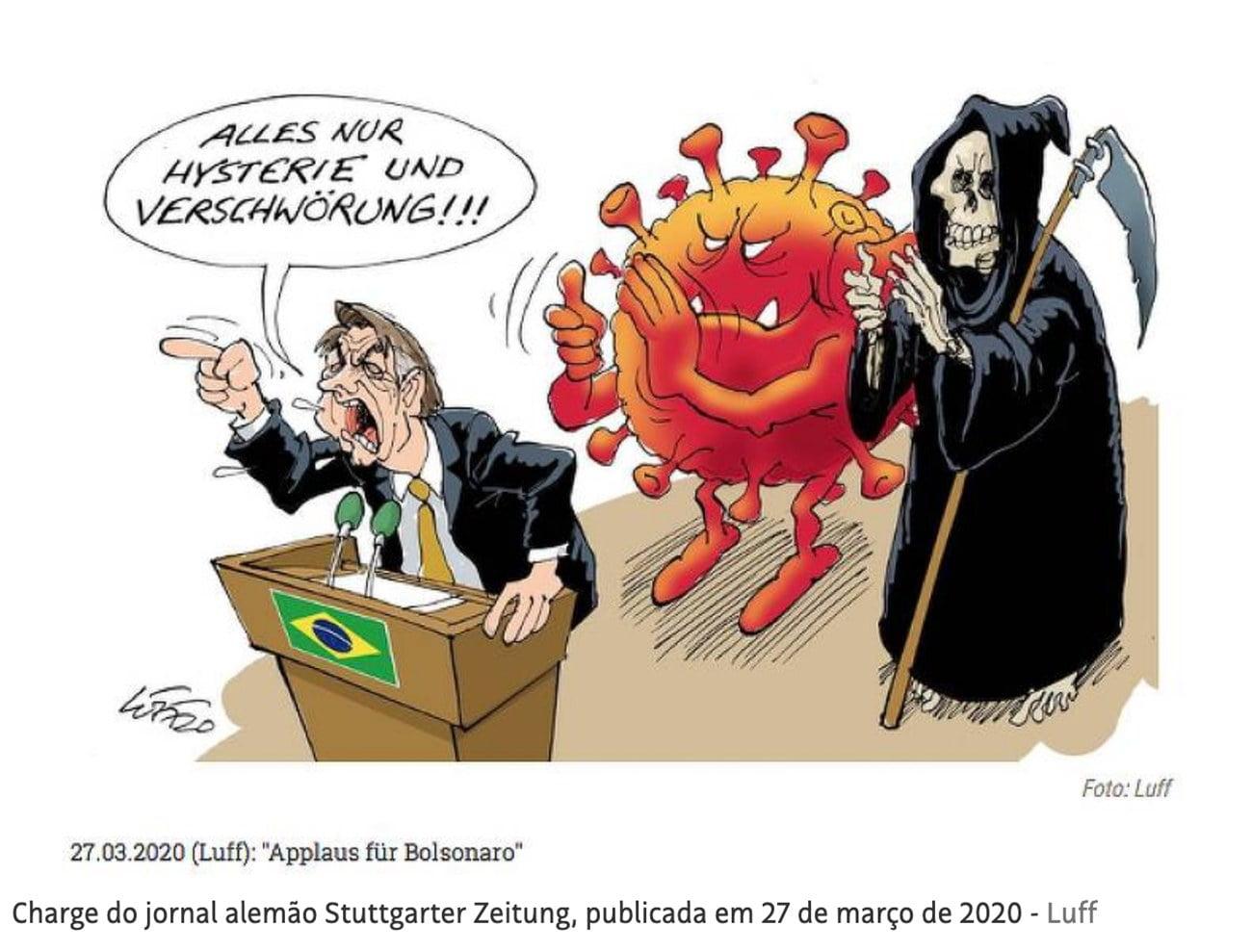 charge de jornal alemão sobre Bolsonaro e a covid-19