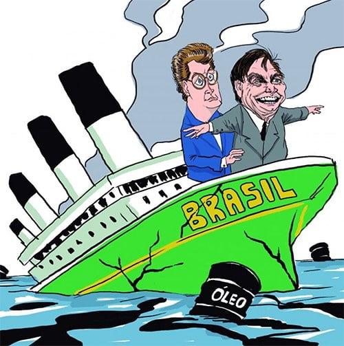 ilustração de Ricardo Salles e Bolsonaro