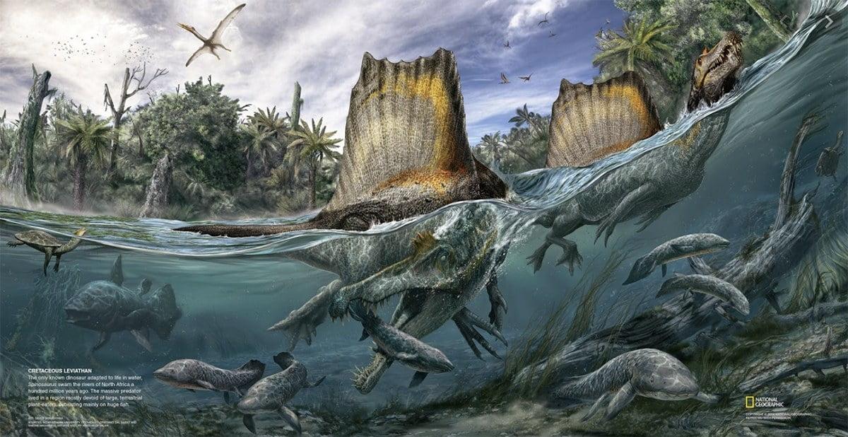 ilustração de Espinossauro, um dinossauro que gostava do mar