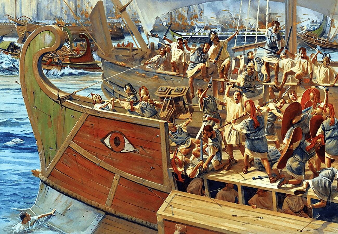 desenho alusivo a batalha naval de Écnomo