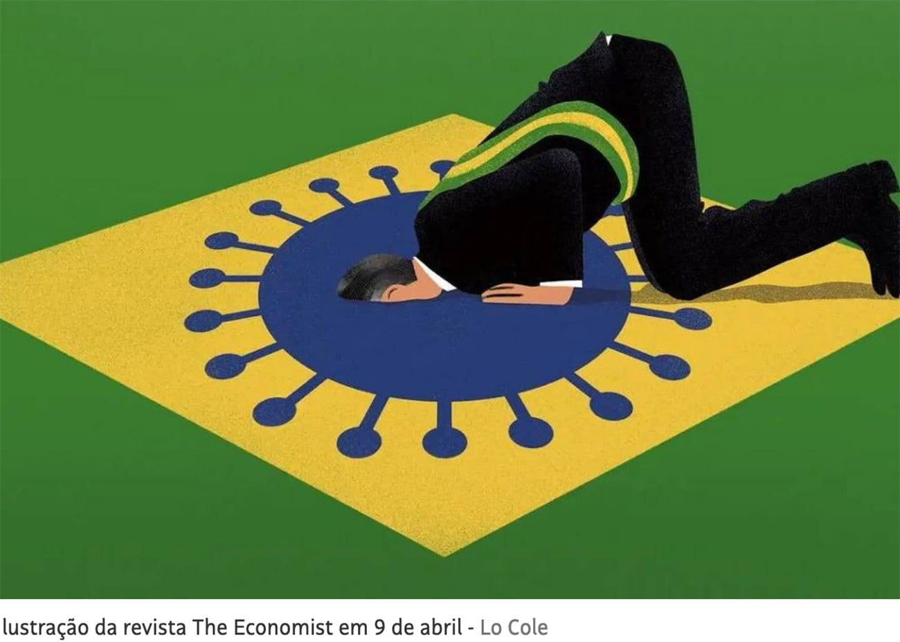 ilustração de Jair Bolsonaro e a covid-19