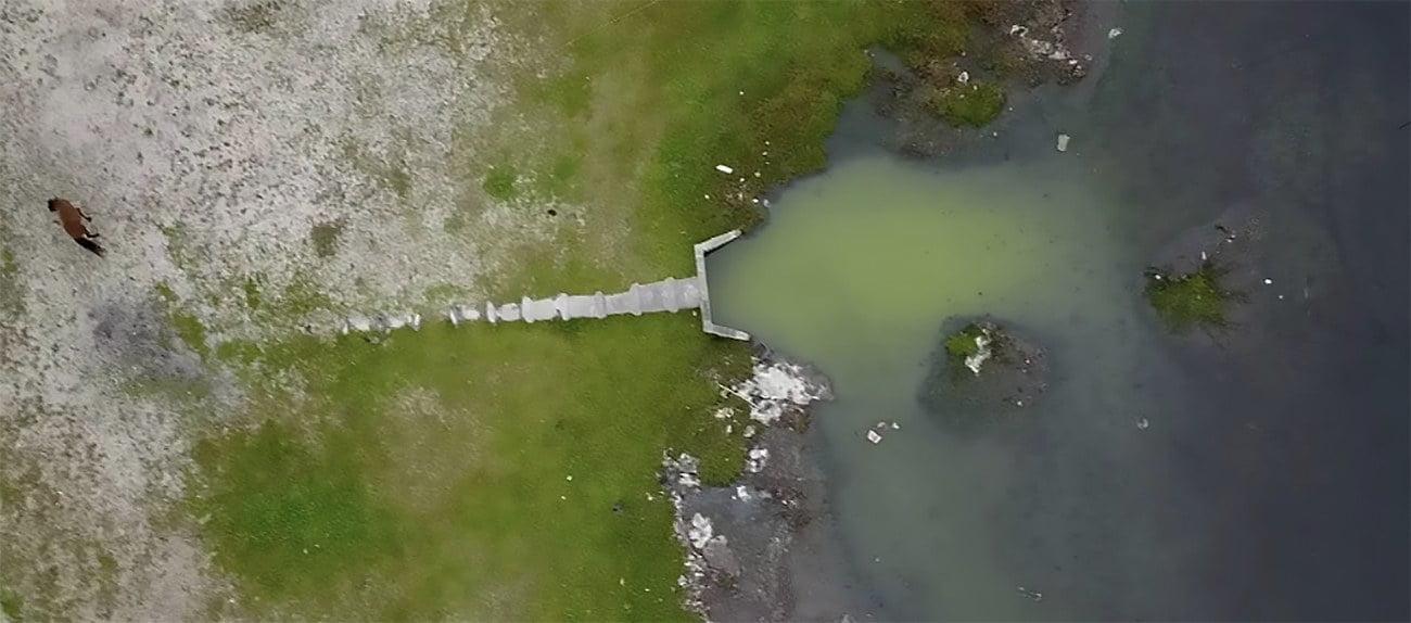 imagem de poluição da lagoa de Araruama