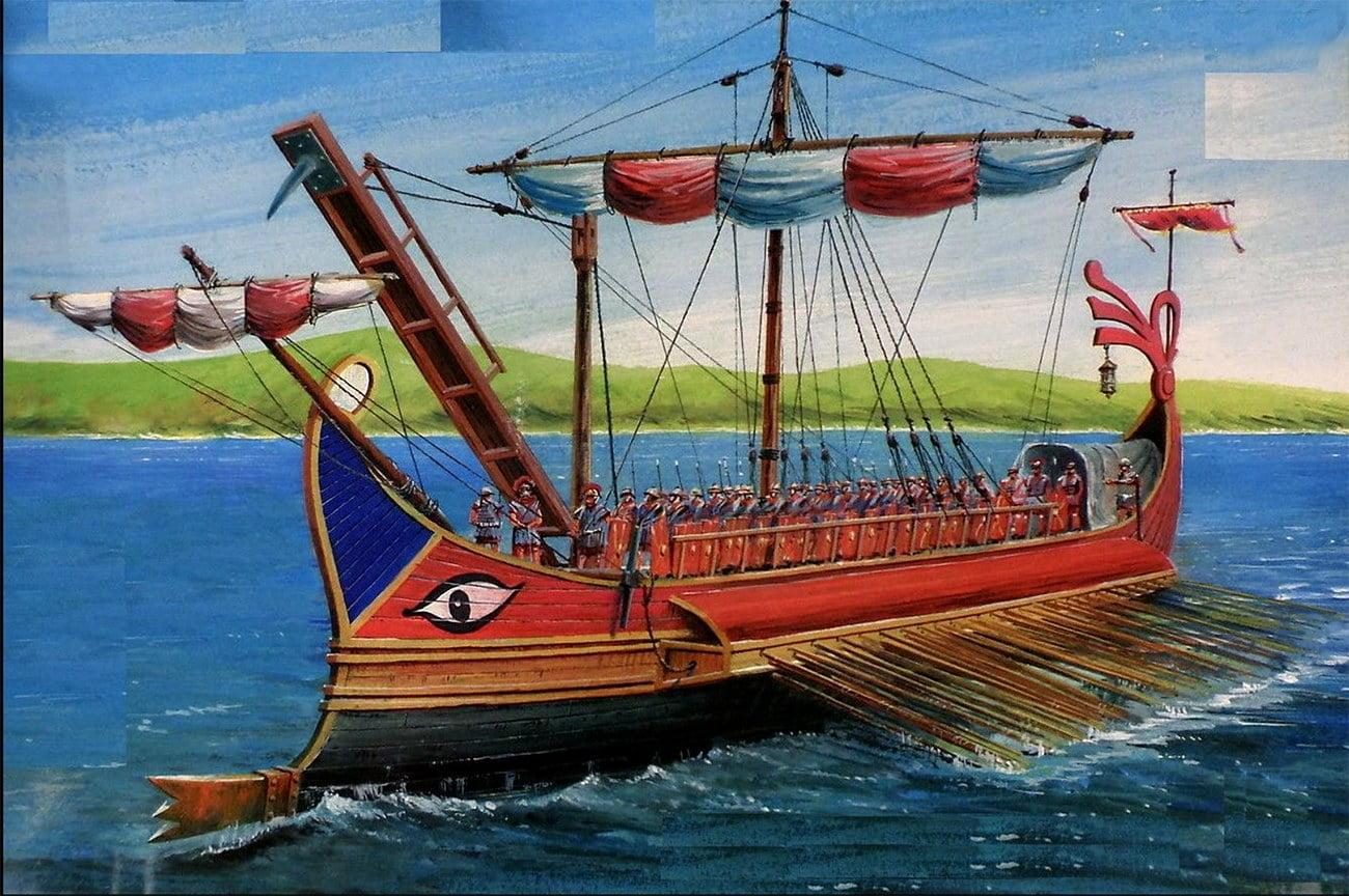 desenho de navio romano das guerras púnicas
