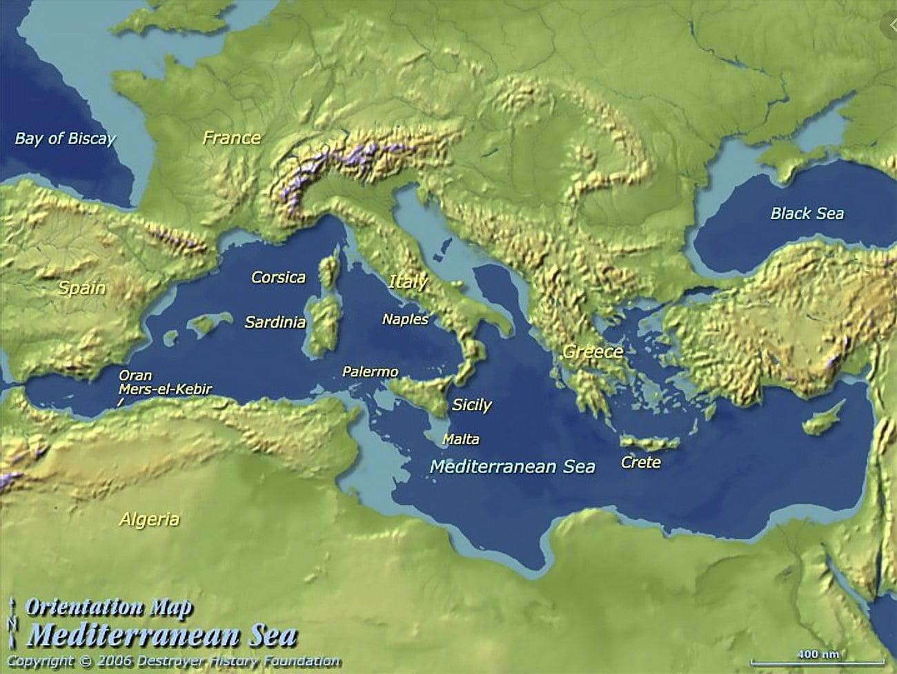 mapa do mar Mediterrâneo