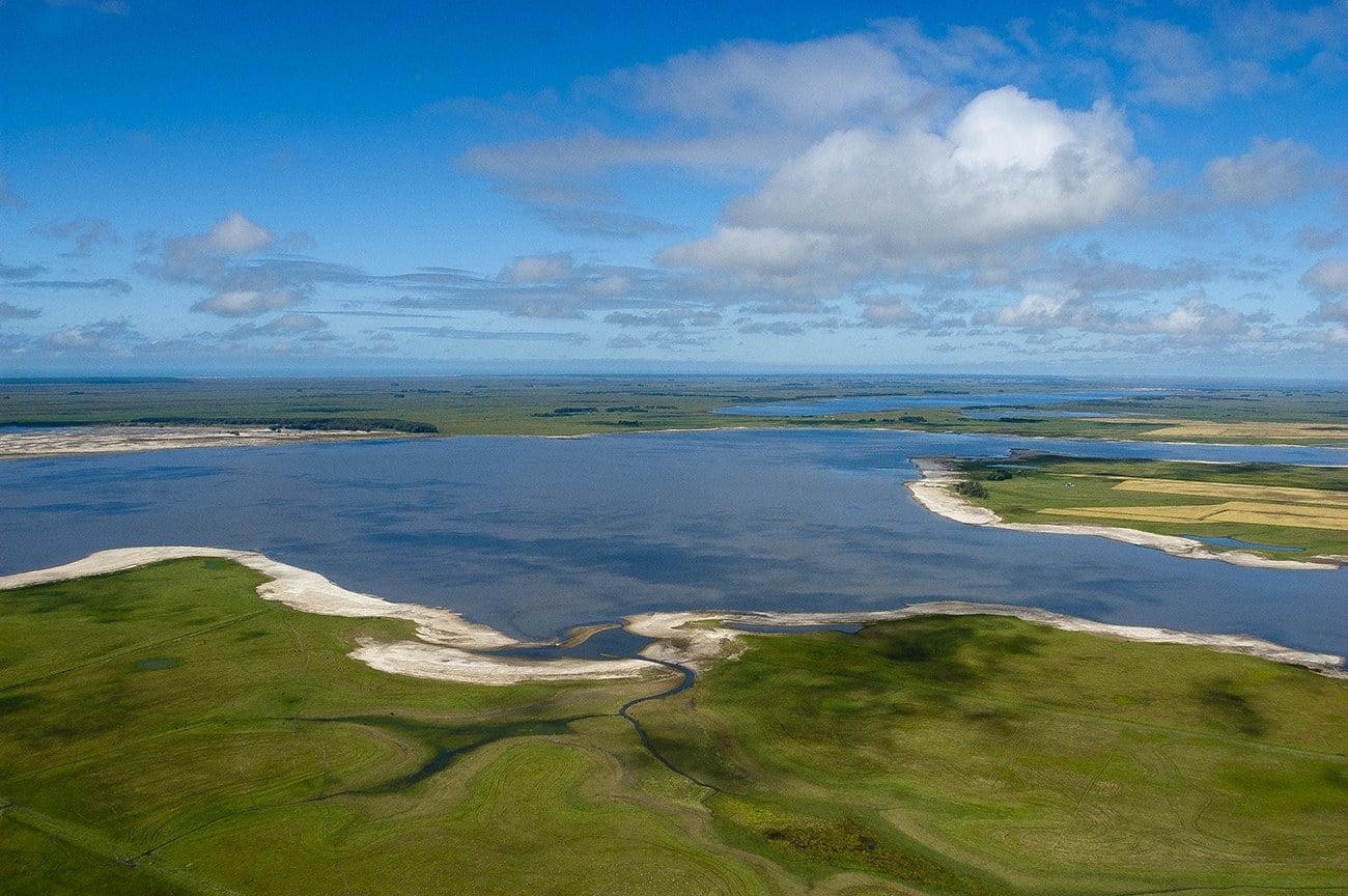 imagem do sistema hidrológico do Taim, Rio Grande do Sul