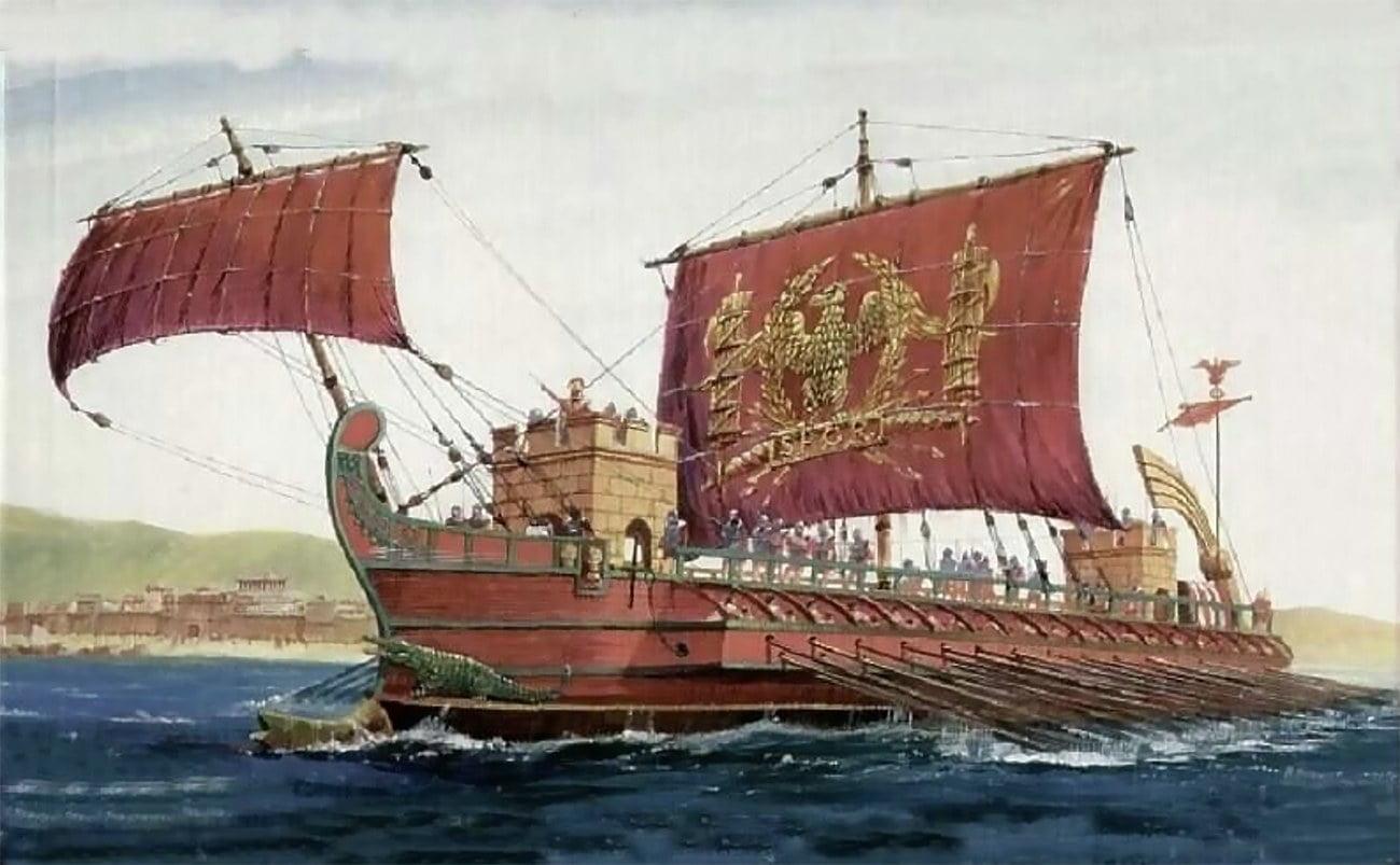 Imagem de navio romano das guerras púnicas