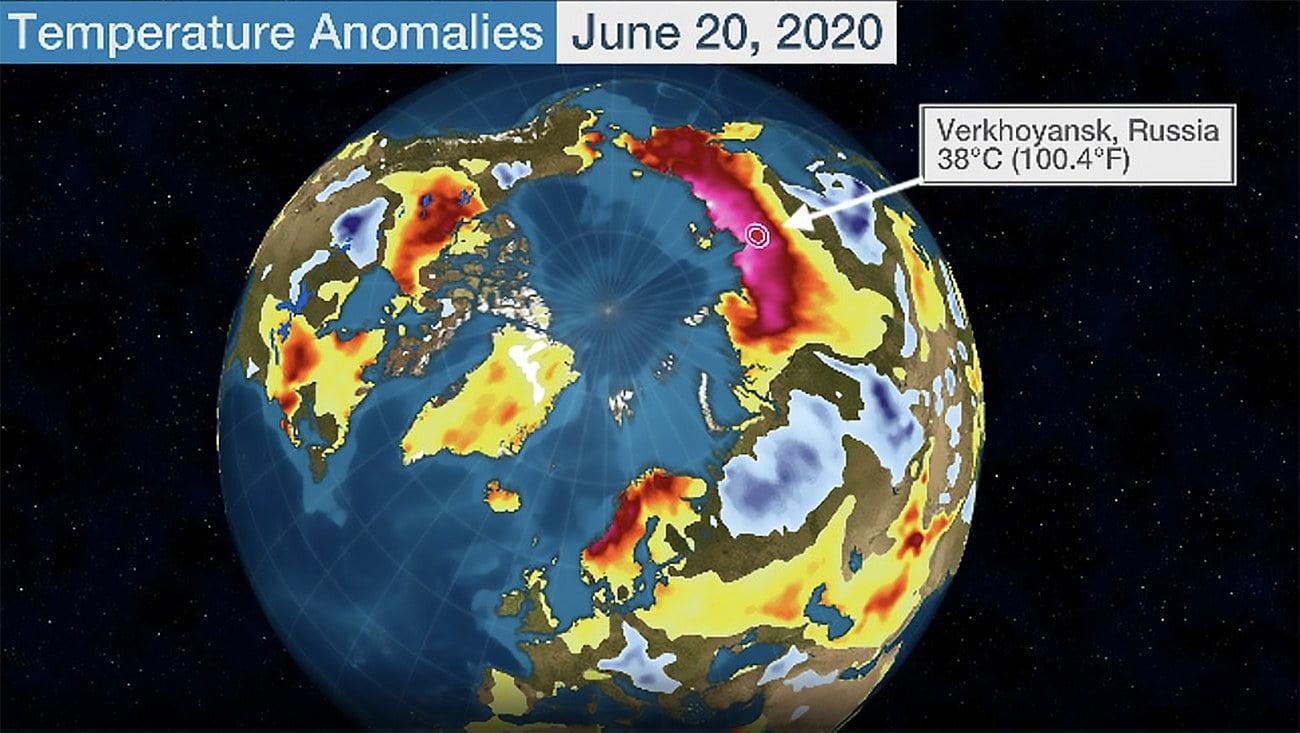 ilustração mostra Sibéria, calor de 38º C neste verão