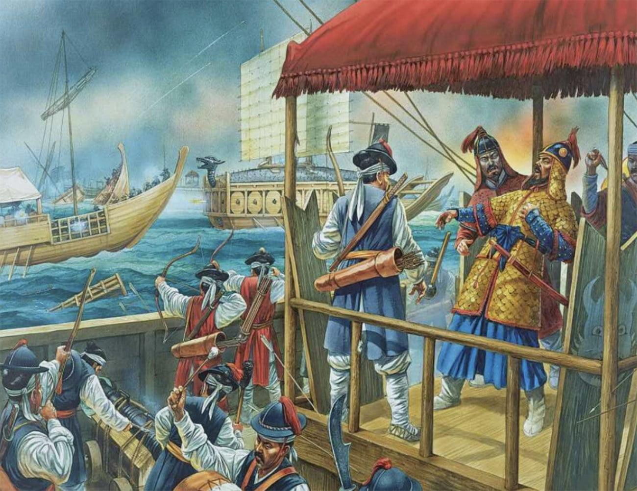 pintura representando a morte do Morte do almirante Yi Sun-Sin