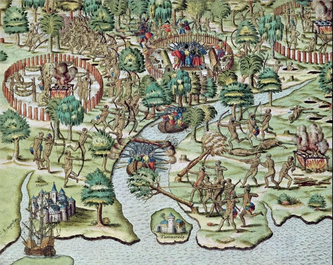 Gravura de Theodor de Bry. Ataque dos índios caetés à vila de Igarassu
