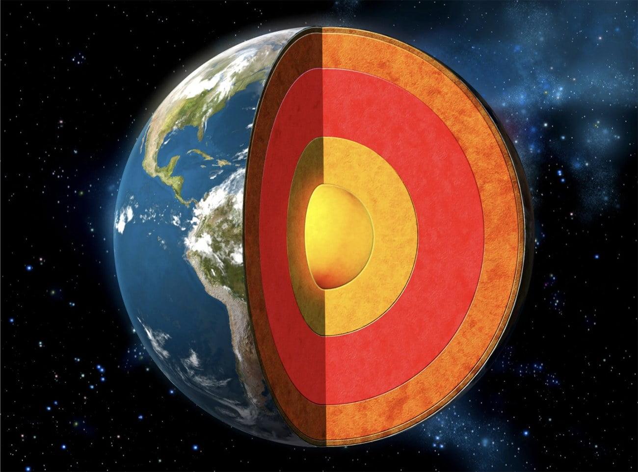 Ilustração do centro da Terra