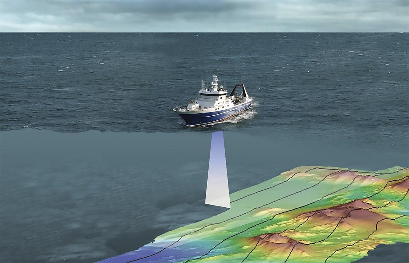 ilustração de navio mentindo profundidade dos oceanos