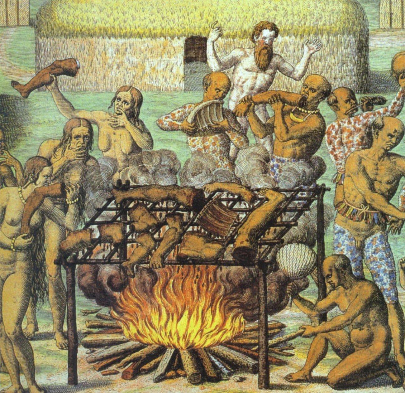 Ilustração mostrando Hans Staden