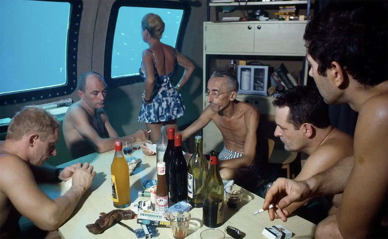 imagem de Jacques Cousteau em Habitat subaquático permanente