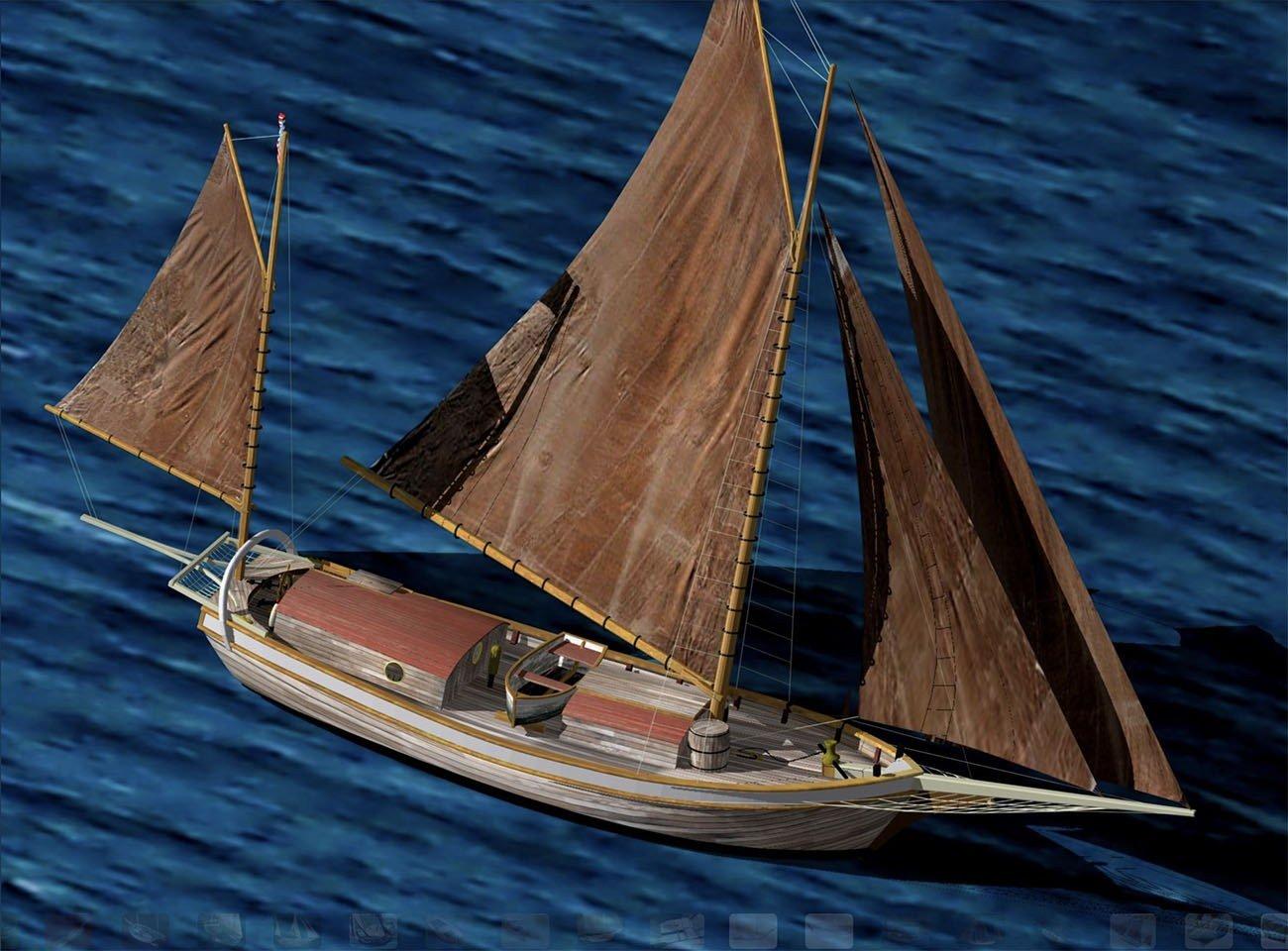 Imagem réplica do veleiro Spray de Joshua Slocum.