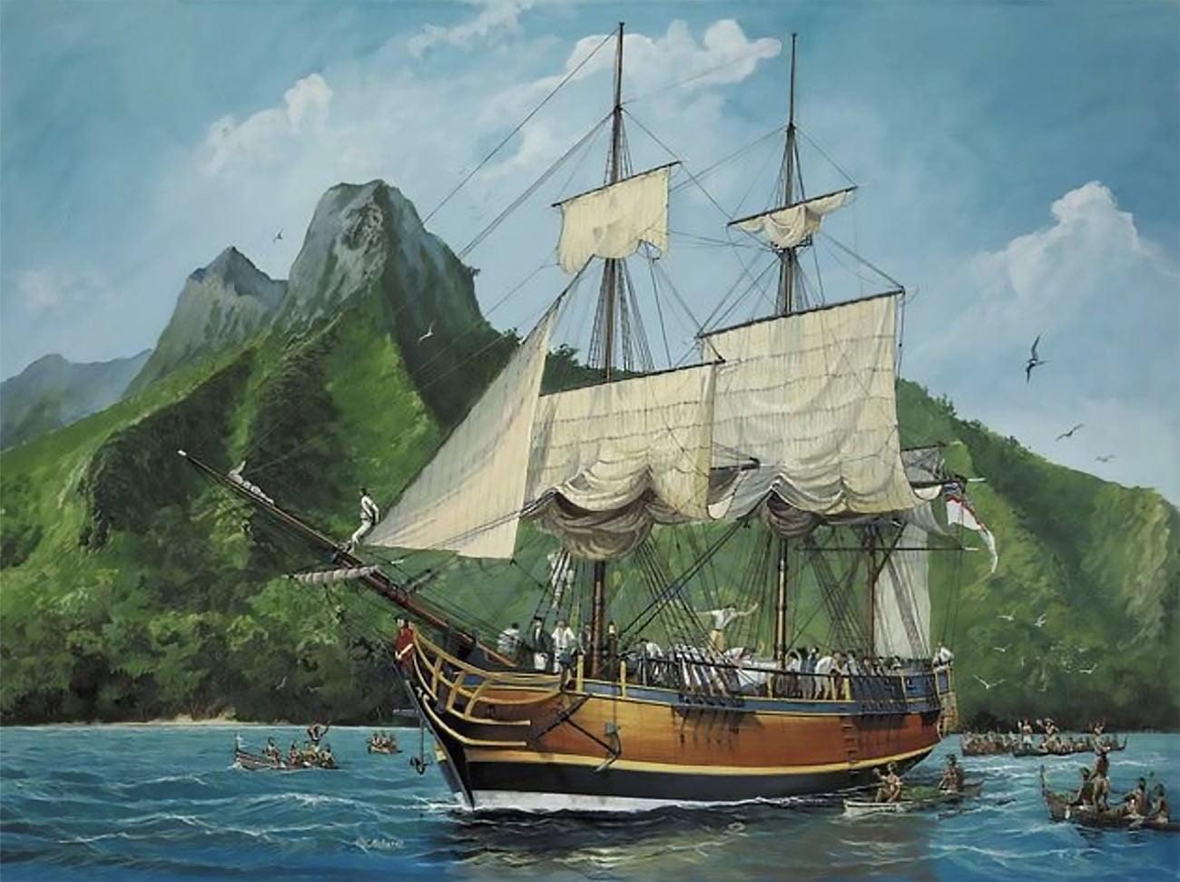 desenho do navio HMS Bounty no Taiti
