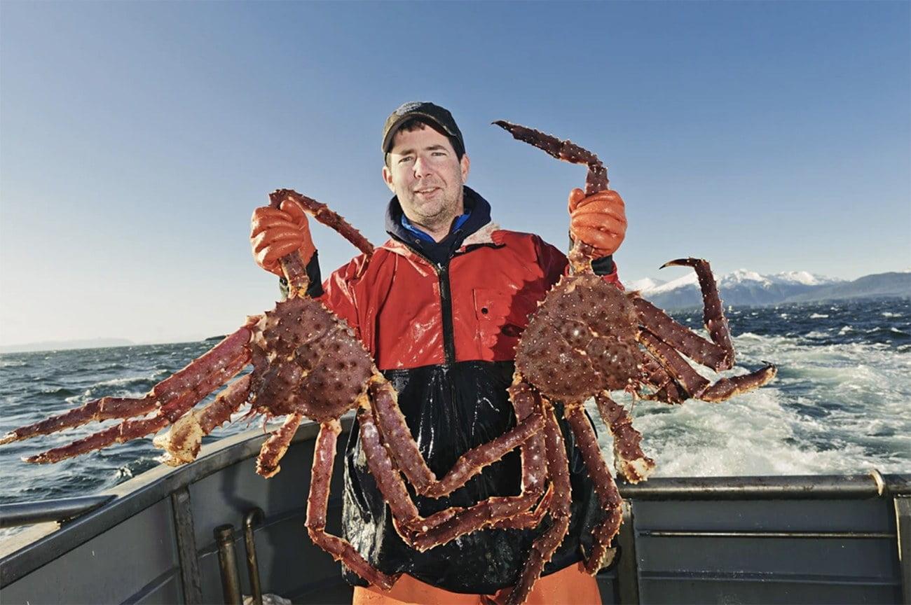 imagem de pescador com King crab