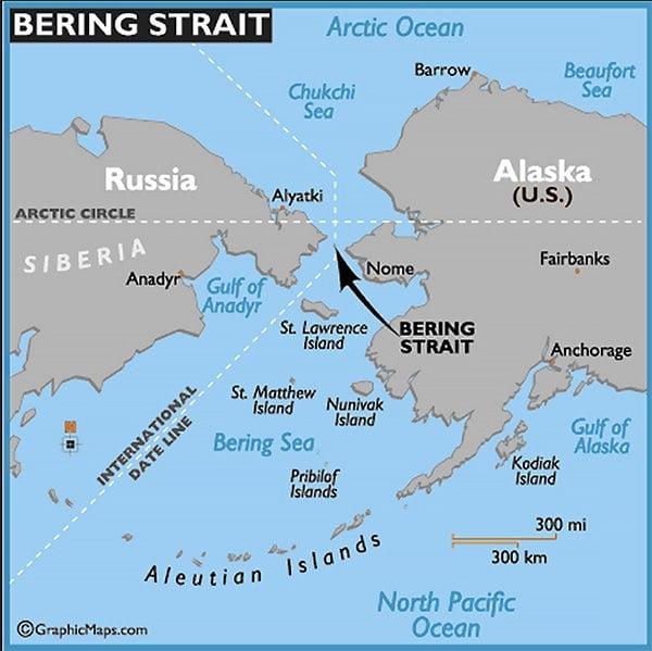 mapa da localização do mar de Bering