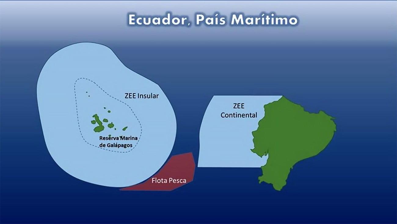 Ilustração mostra frota pesqueira da China encurralado entre a ZZE do Equador e a reserva marinha de Galápagos