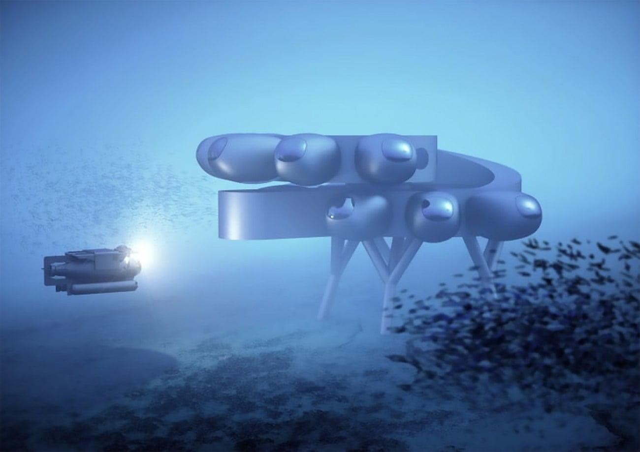 ilustração da Estação Espacial Internacional Subaquática