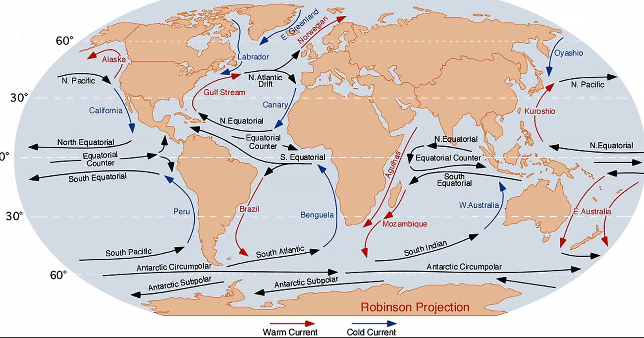 infográfico das correntes marinha no Pacífico
