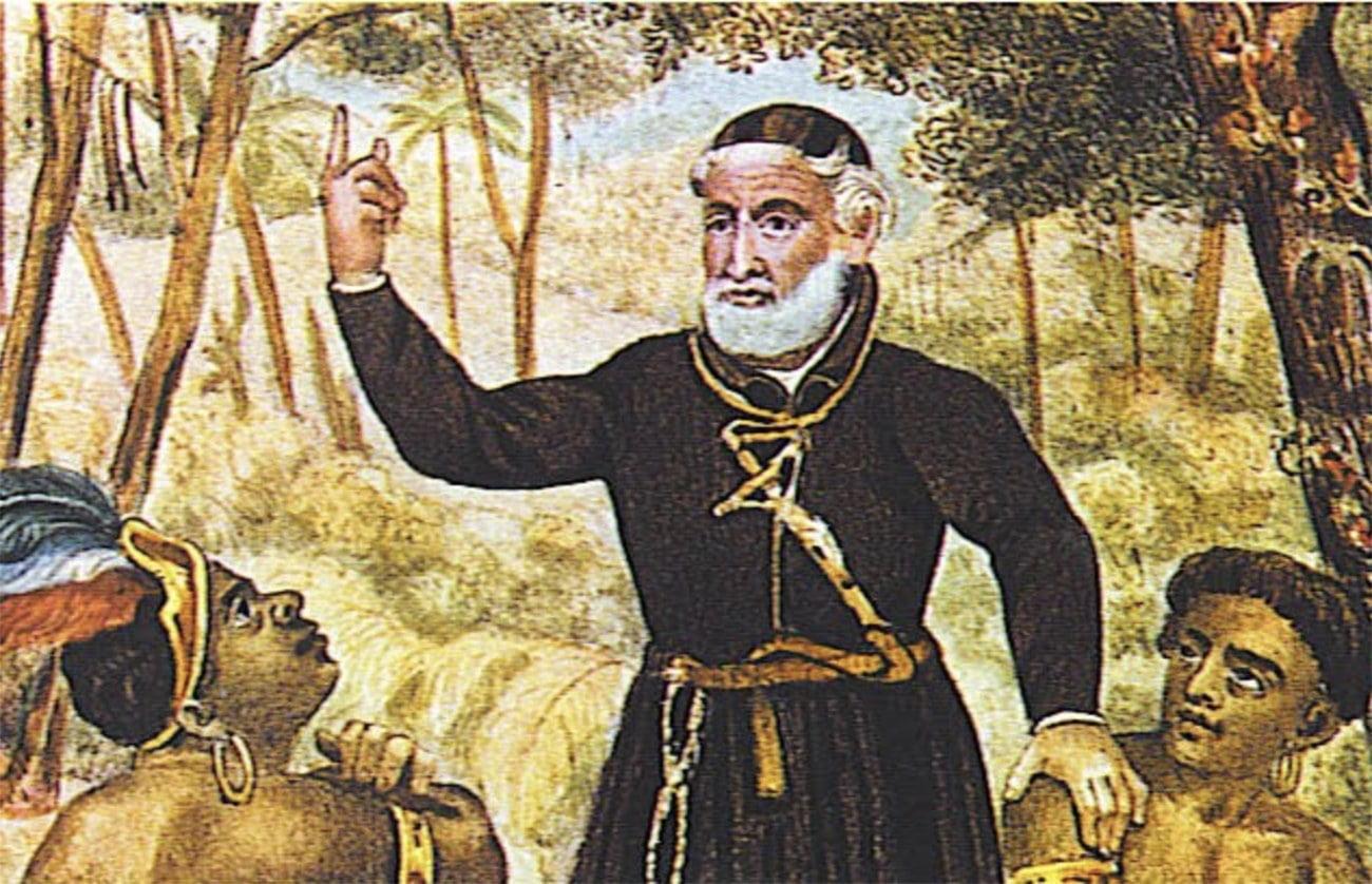 Gravura do padre Antônio Vieira evangelizando na Amazônia.