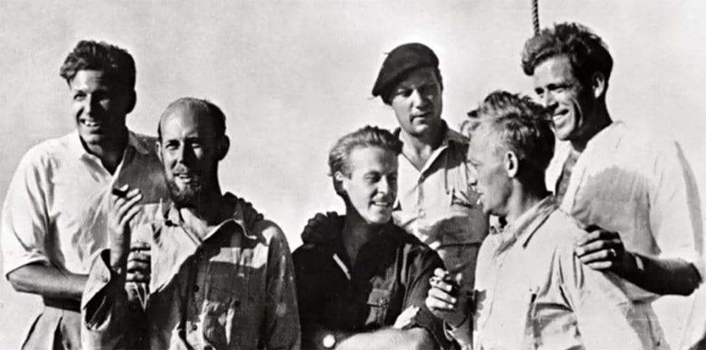 imagem da tripulação da jangada Kon-tiki