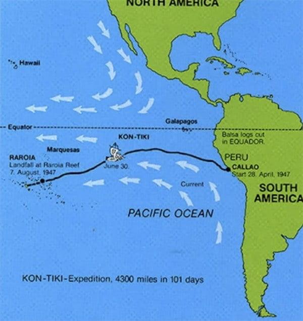 mapa com rota da jangada Kon-Tiki