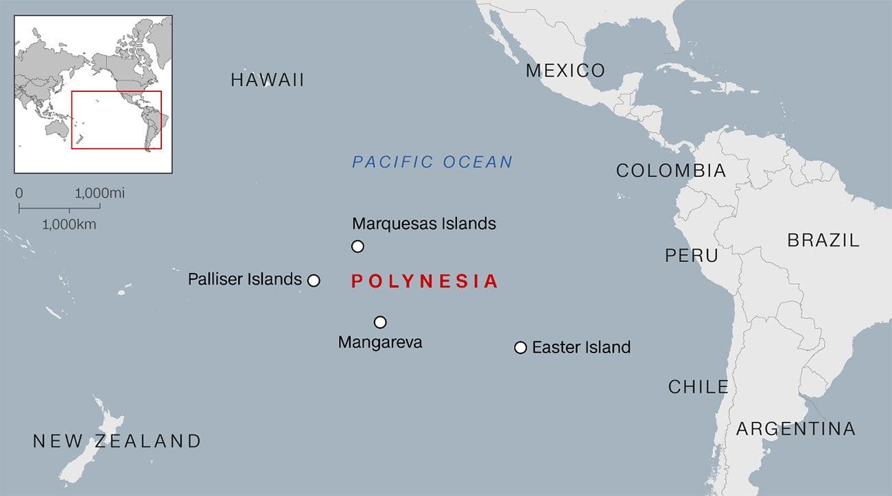 mapa das ilhas polinésias