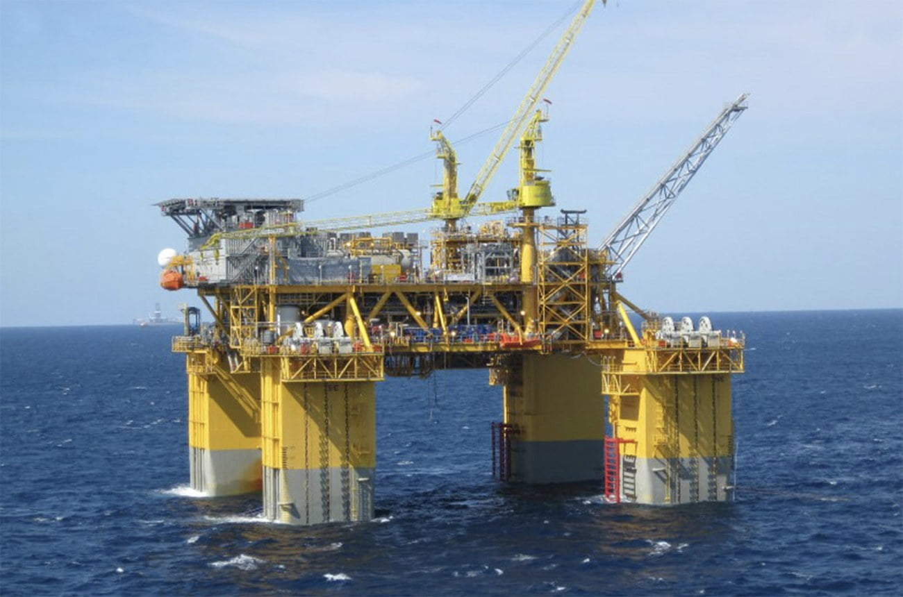 imagem de plataforma de petróleo da Petrobras