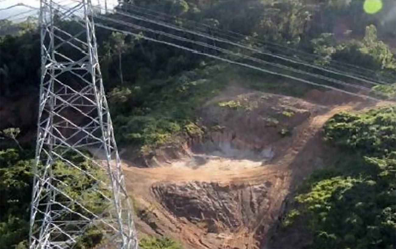 imagem do linhão de Belo Monte ameaçado pelo garimpo ilegal