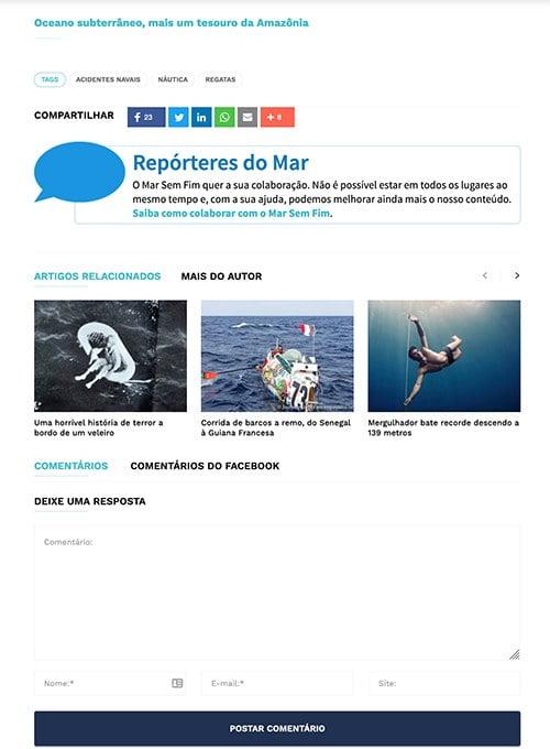 imagem de repórter do mar do site mar sem fim