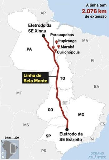 infográfico mostra o linhão de Belo Monte