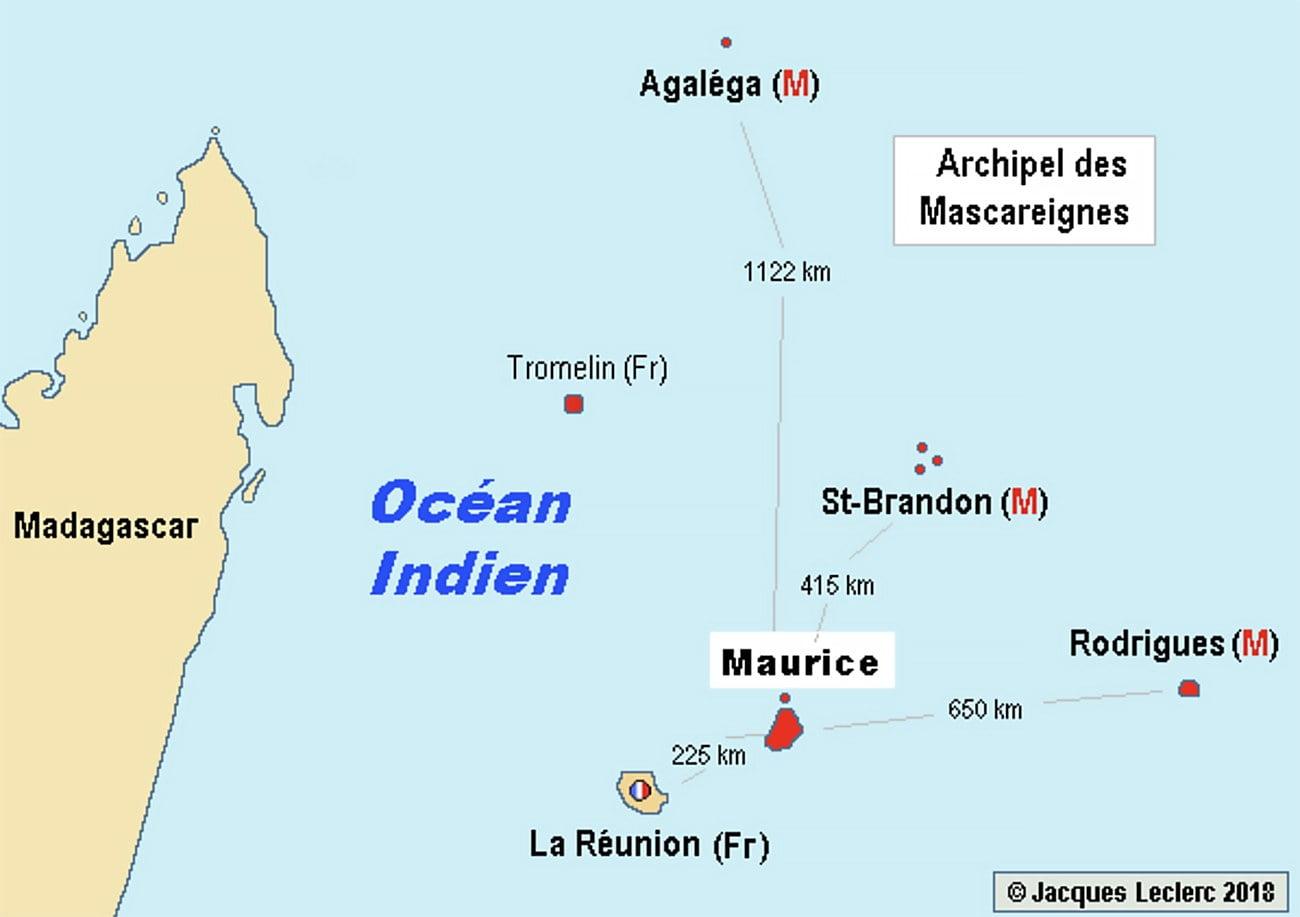 mapa das Ilhas Maurício