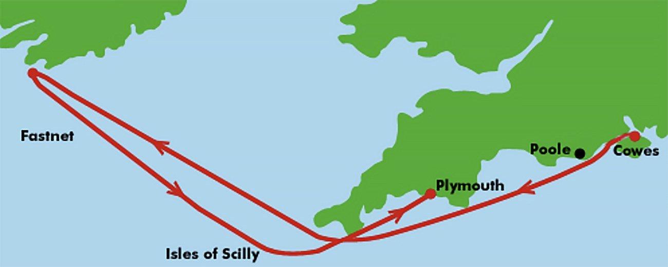 mapa do trajeto da regata Fastnet Race
