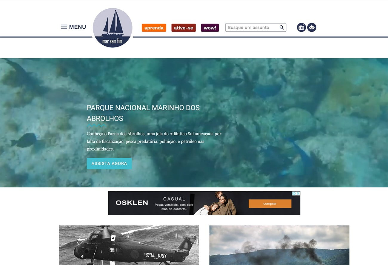 imagem de menu do site mar sem fim