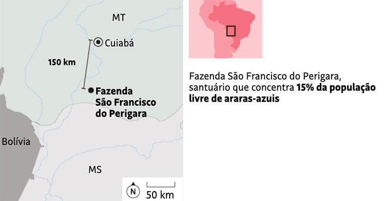 ilustração da localização do refúgio das araras-azuis no Pantanal