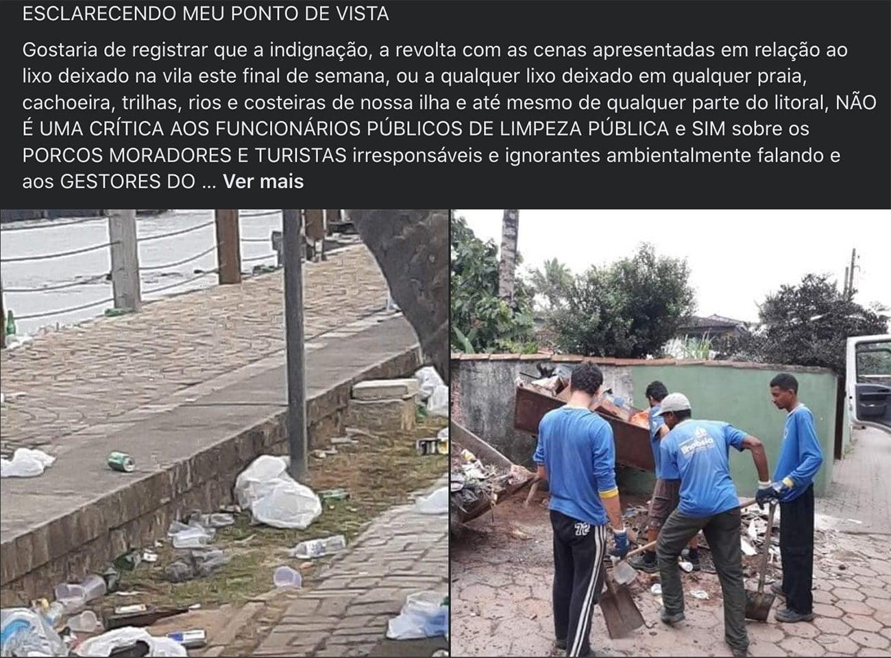 imagem de lixo acumulado em Ilhabela