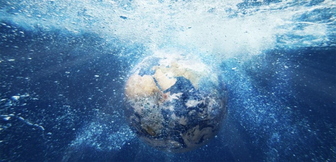 Ilustração mostra a Terra e os oceanos